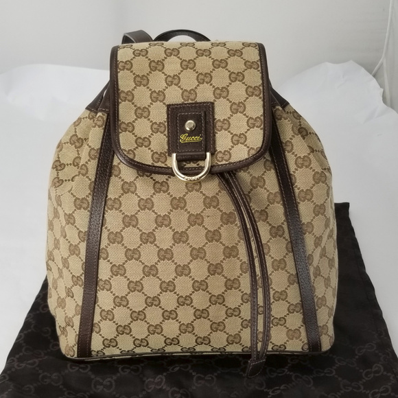 23429a585d63cf Gucci Bags | Authentic Monogram Canvas Leather Backpack | Poshmark